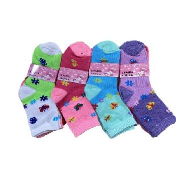 3pr Girl's Quarter Socks 4-6 [Butterfly]